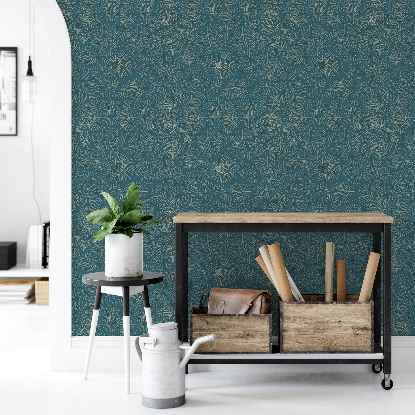 Abstract Teal Peel And Stick Wallpaper - The Wallberry