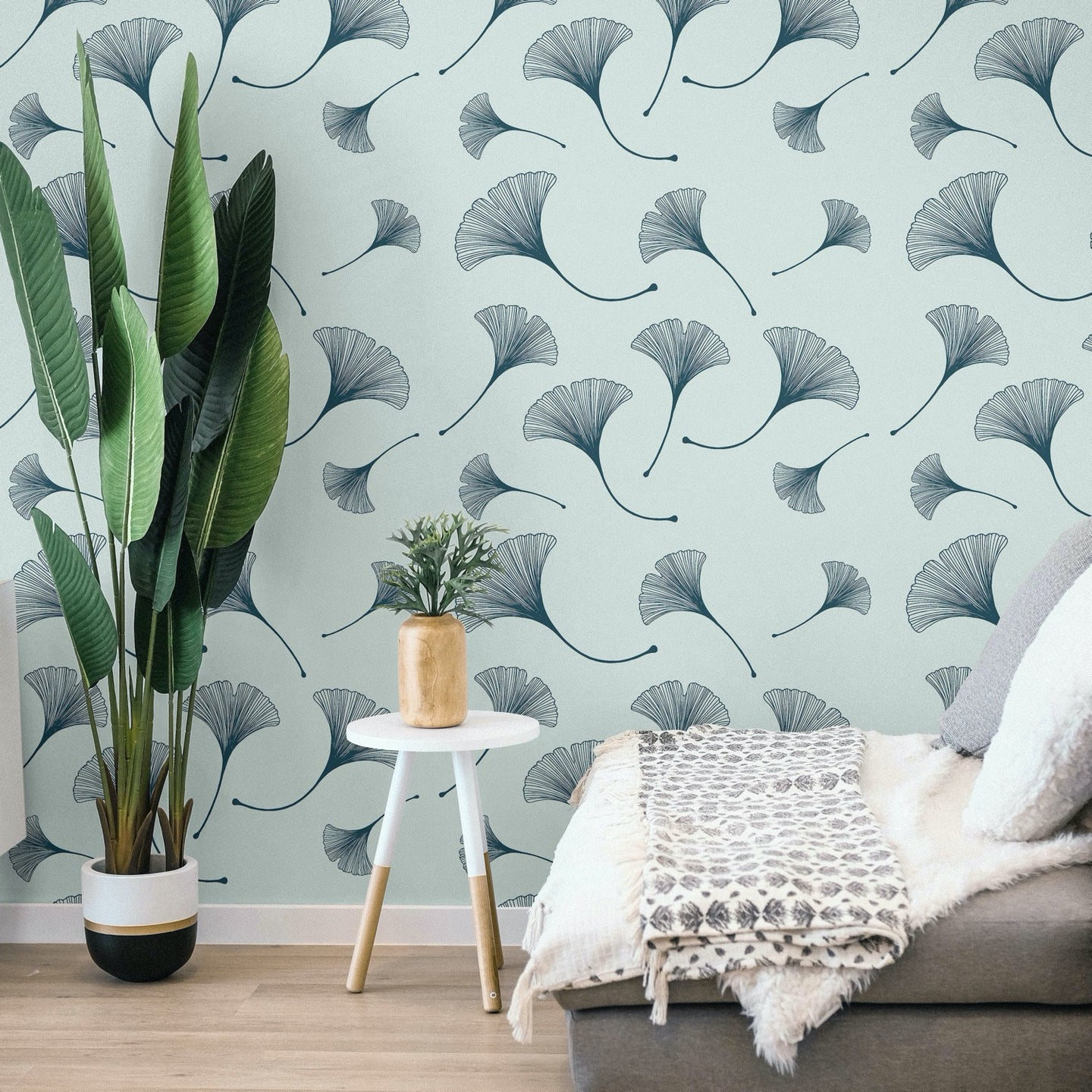 Sage Green Ginkgo Peel and Stick Wallpaper - The Wallberry