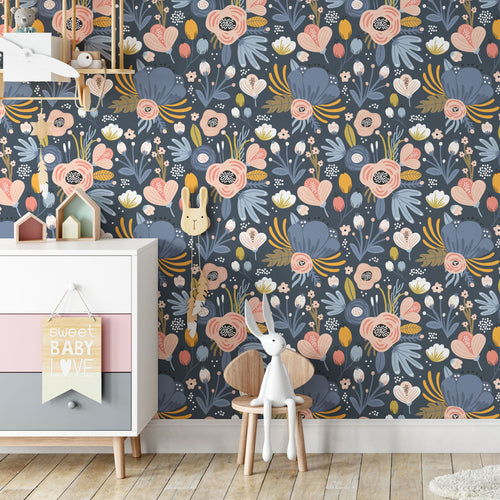 Dark Floral Peel and Stick Wallpaper - The Wallberry