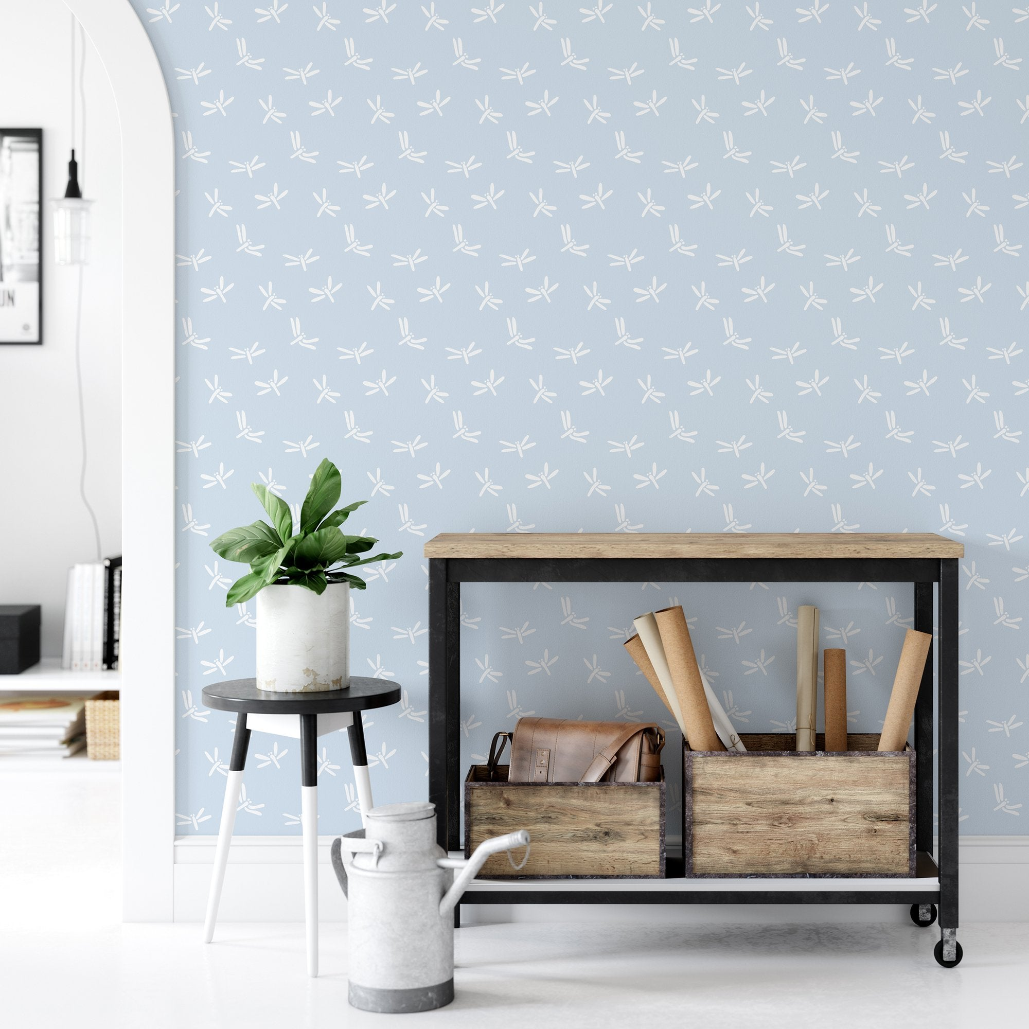 Light Blue Dragonfly Wallpaper Peel And Stick The Wallberry By