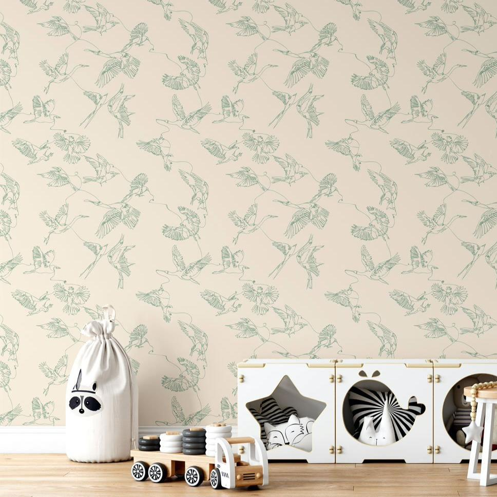 Nude Birds Peel and Stick Wallpaper - The Wallberry