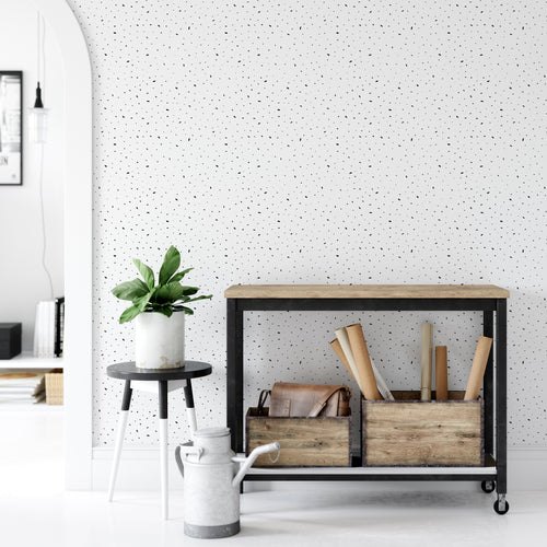 Black And White Paint Dots Wallpaper - The Wallberry