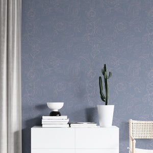 Dusty Blue Peony Self Adhesive Wallpaper - The Wallberry