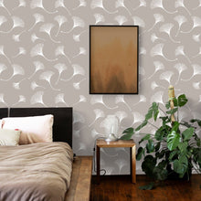 Load image into Gallery viewer, Taupe Ginkgo Leaf Peel and Stick Wallpaper - The Wallberry
