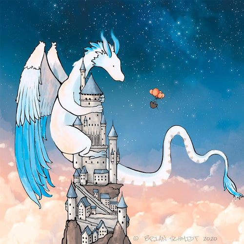 Feather Dragon Art Print 8x10 Matted - Castle