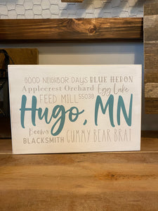 "Hugo Wood Plaque (13x8"")"