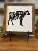 "Load image into Gallery viewer, Farmhouse Sign Framed in Reclaimed Barnwood (13.5x13.5"") **Multiple Styles Available**"