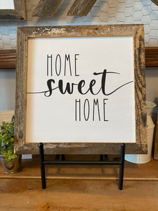 "Farmhouse Sign Framed in Reclaimed Barnwood (13.5x13.5"") **Multiple Styles Available**"