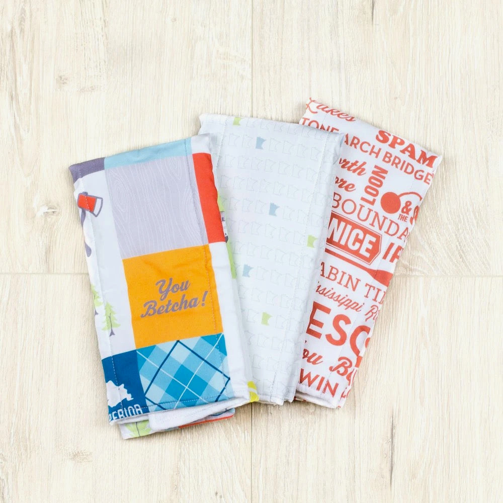 These burp cloths are low maintenance and can go right in the washing machine and dryer. The more they are washed, the softer they get. Since you can just about guarantee you'll always have at least one burp cloth in the wash, a set of three ensures you'll always have one when you need it.