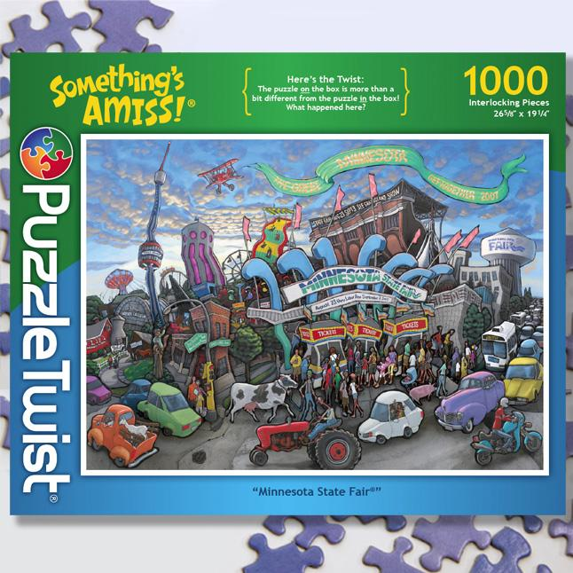 A jigsaw puzzle with a twist.  Here's the Twist: The puzzle on the box is more than a bit different from the puzzle in the box!