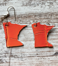 Load image into Gallery viewer, Minnesota Shaped Leather Earrings