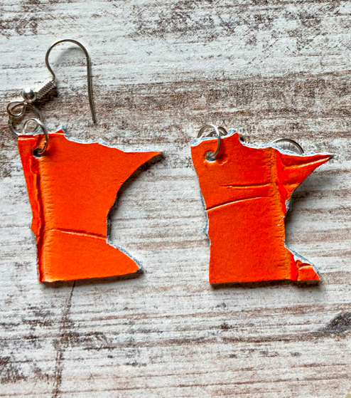 Minnesota Shaped Leather Earrings