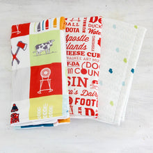 Load image into Gallery viewer, These burp cloths are low maintenance and can go right in the washing machine and dryer. The more they are washed, the softer they get. Since you can just about guarantee you'll always have at least one burp cloth in the wash, a set of three ensures you'll always have one when you need it.