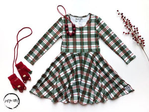 Green Holiday Plaid Twirl Dress