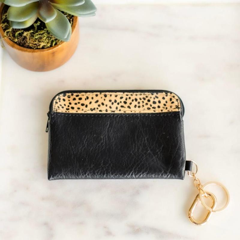LEXIE LEATHER CARDHOLDER WITH ZIPPER