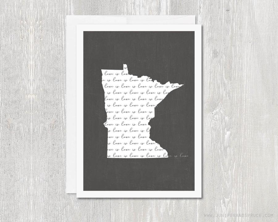 LOVE IS LOVE MINNESOTA OUTLINE GREETING CARD