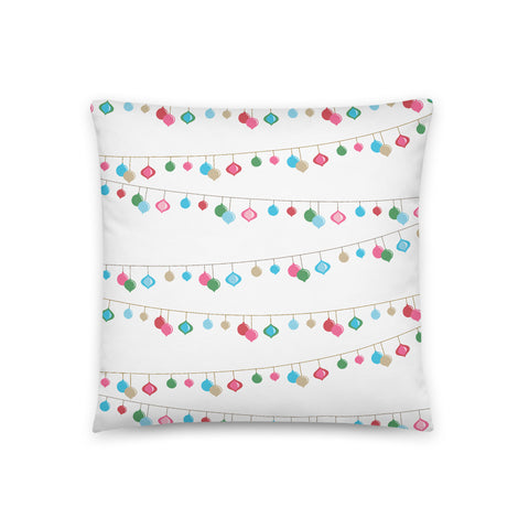 Holiday String Light Print Throw Pillow