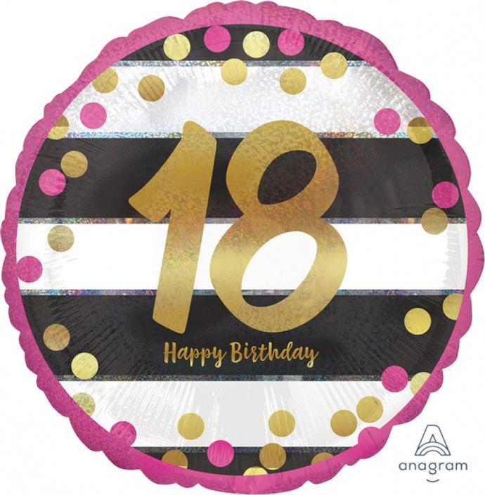 Pink and Gold Stripes/Dots Foil (Various Ages)