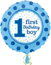 Load image into Gallery viewer, 1st birthday boy foil balloon