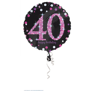 Black and Pink Sparkling Foil (Various Ages)