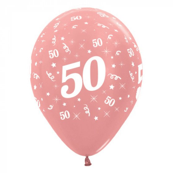 50th Rosegold Balloons Packet of 6