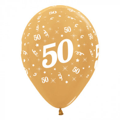 50th white and gold latex balloon