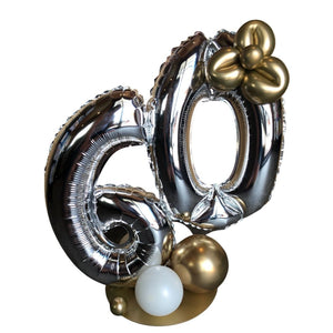 60 gold  silver white foil & latex balloon bubble centrepiece