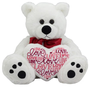 Valentine Day plush bear holding messages of love