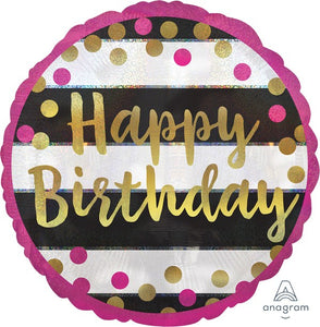 Pink and Gold Dot Happy Birthday Foil Balloon