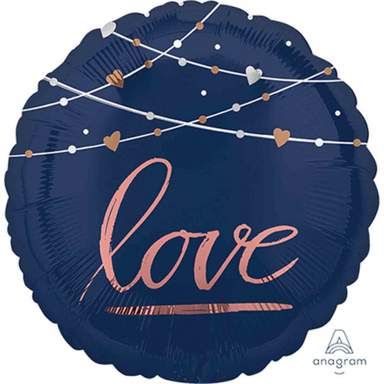Navy Love Foil Circle Balloon