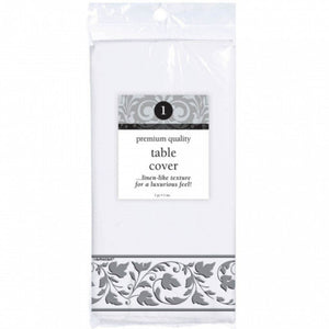 PREMIUM WHITE With SILVER TRIM TABLECOVER PAPER