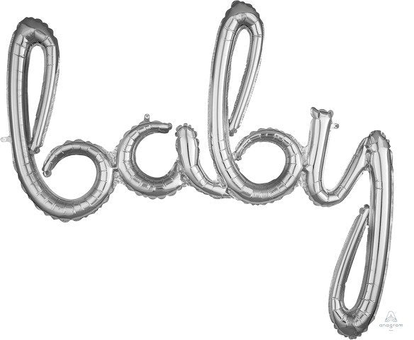 Silver foil balloon banner script kit baby airfill