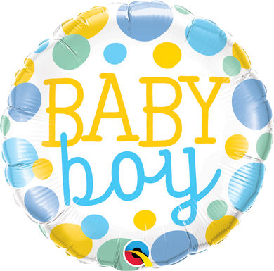 green blue yellow dot baby boy foil balloon