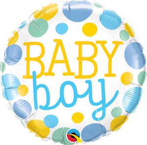 Baby Boy Dots Foil Balloon