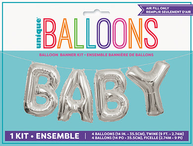 Silver foil balloon banner kit baby airfill
