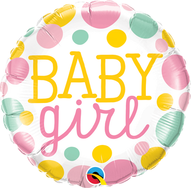 green pink yellow dot baby girl foil balloon