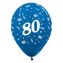 Load image into Gallery viewer, blue 80th birthday printed latex balloon