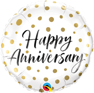 Happy Anniversary Gold dot foil balloon