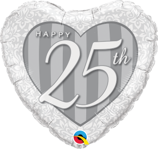 25th weddining anniversary heart shaped foil balloon