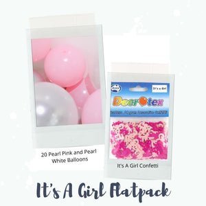 It's a Girl Flatpack balloons and confetti
