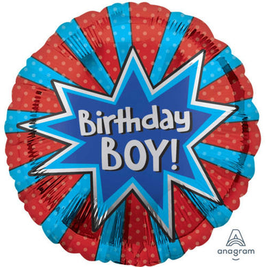 red and blue Birthday Boy Foil Balloon