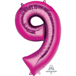 giant hot pink foil number balloon