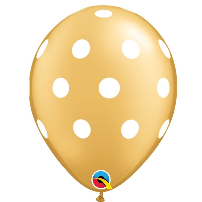 qualatex gold polka dot latex balloon