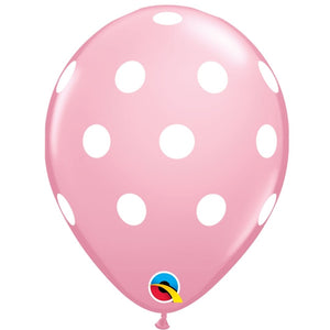 qualatex pink polka dot latex balloon