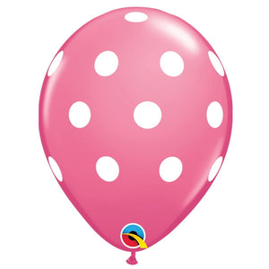 qualatex rose polka dot latex balloon