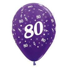 Load image into Gallery viewer, sempertex purple 80th birthday printed latex balloon
