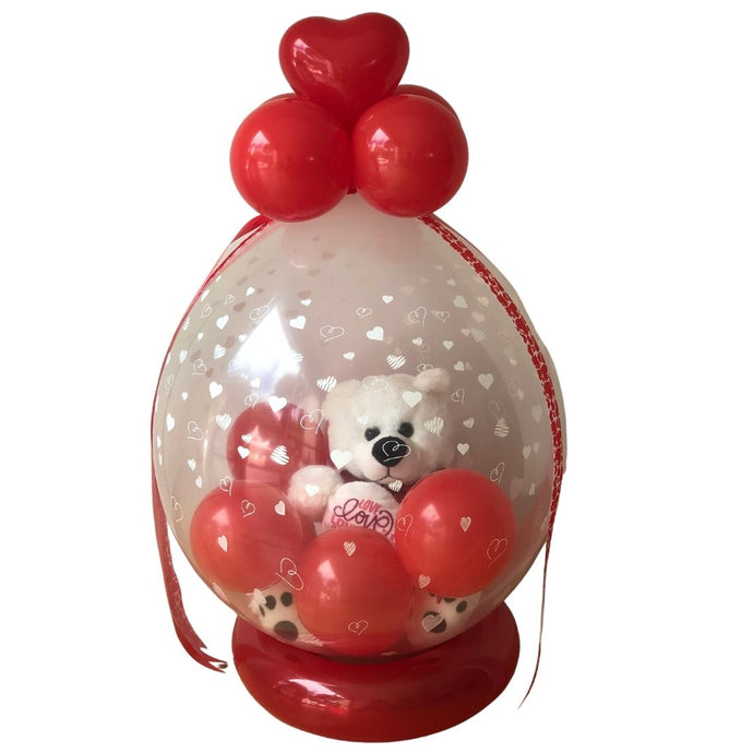 Bear inside heart balloon pop-a-gift stuffed balloon
