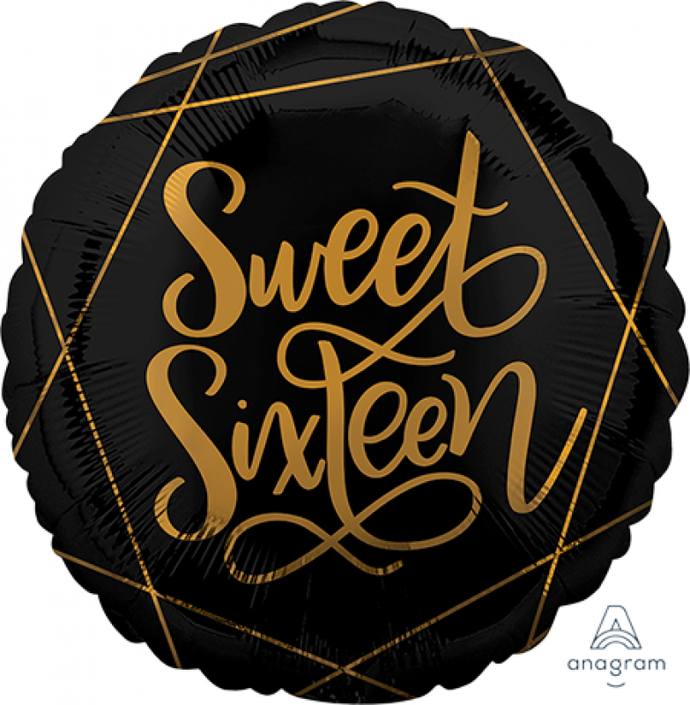 Black and Gold Sweet Sixteen Foil Balloon