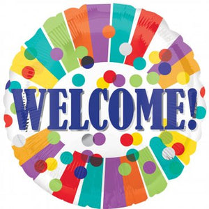 Welcome Stripes and Dots Foil Balloon