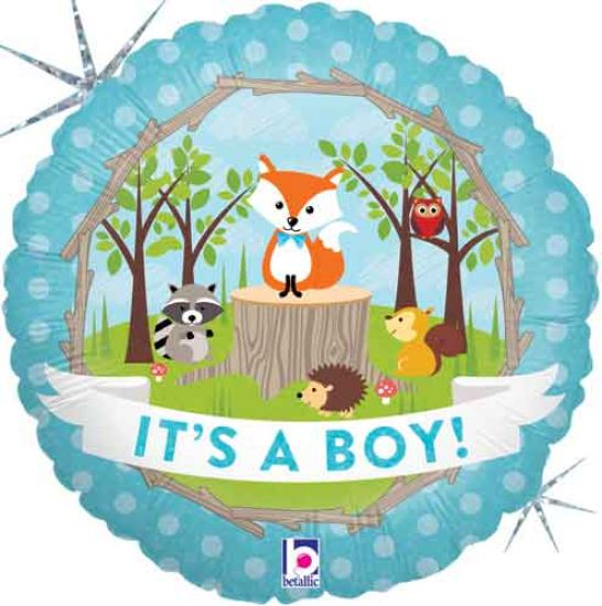 Woodland Baby Boy Foil Balloon